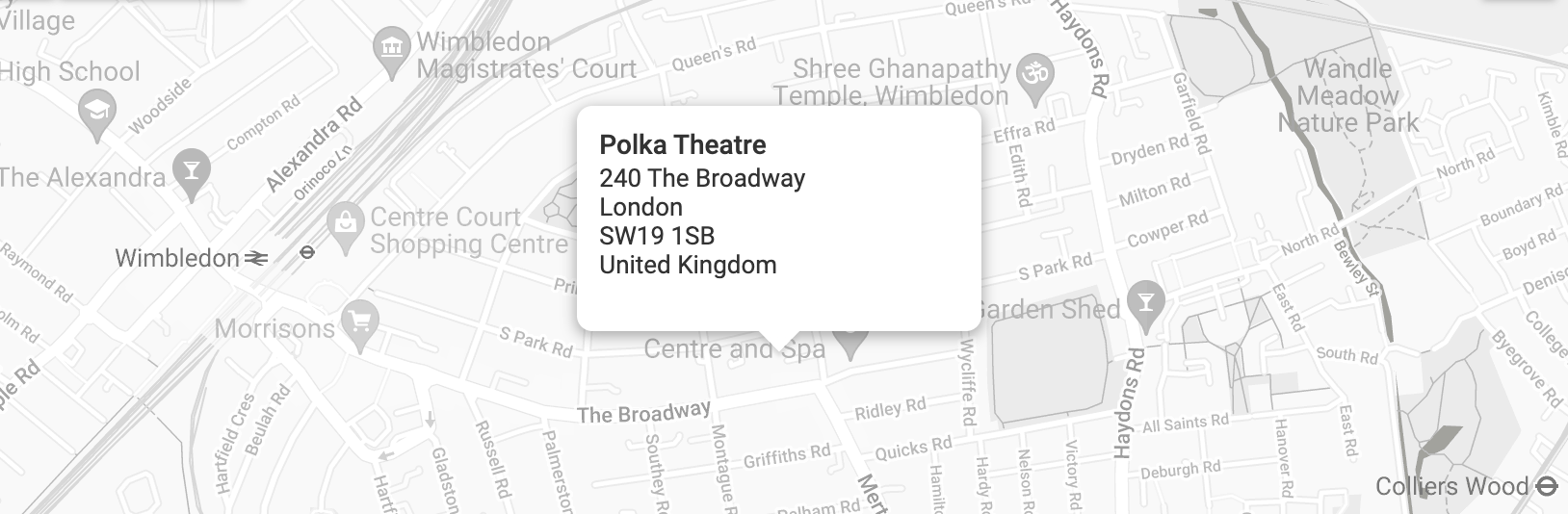 Map of Merton with Polka Theatre marked on it