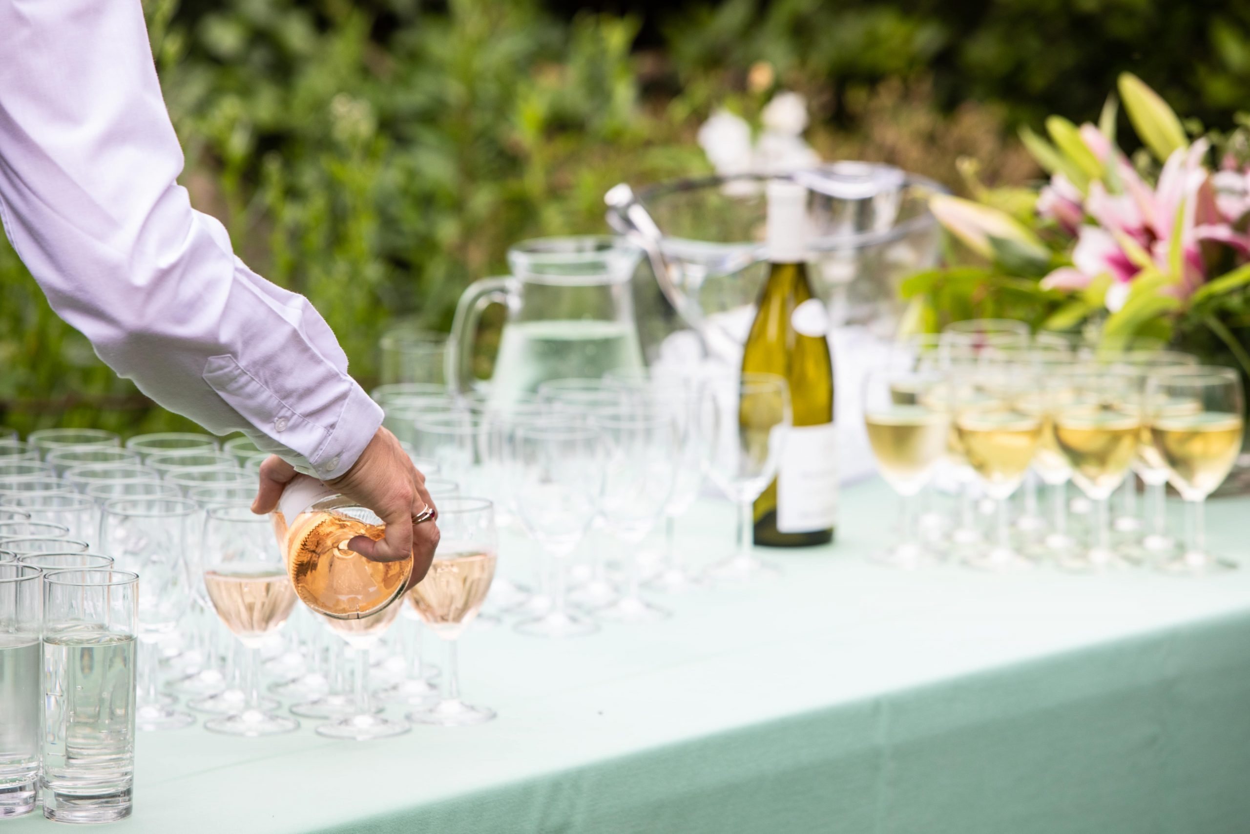 Wine being poured at a Polka Event