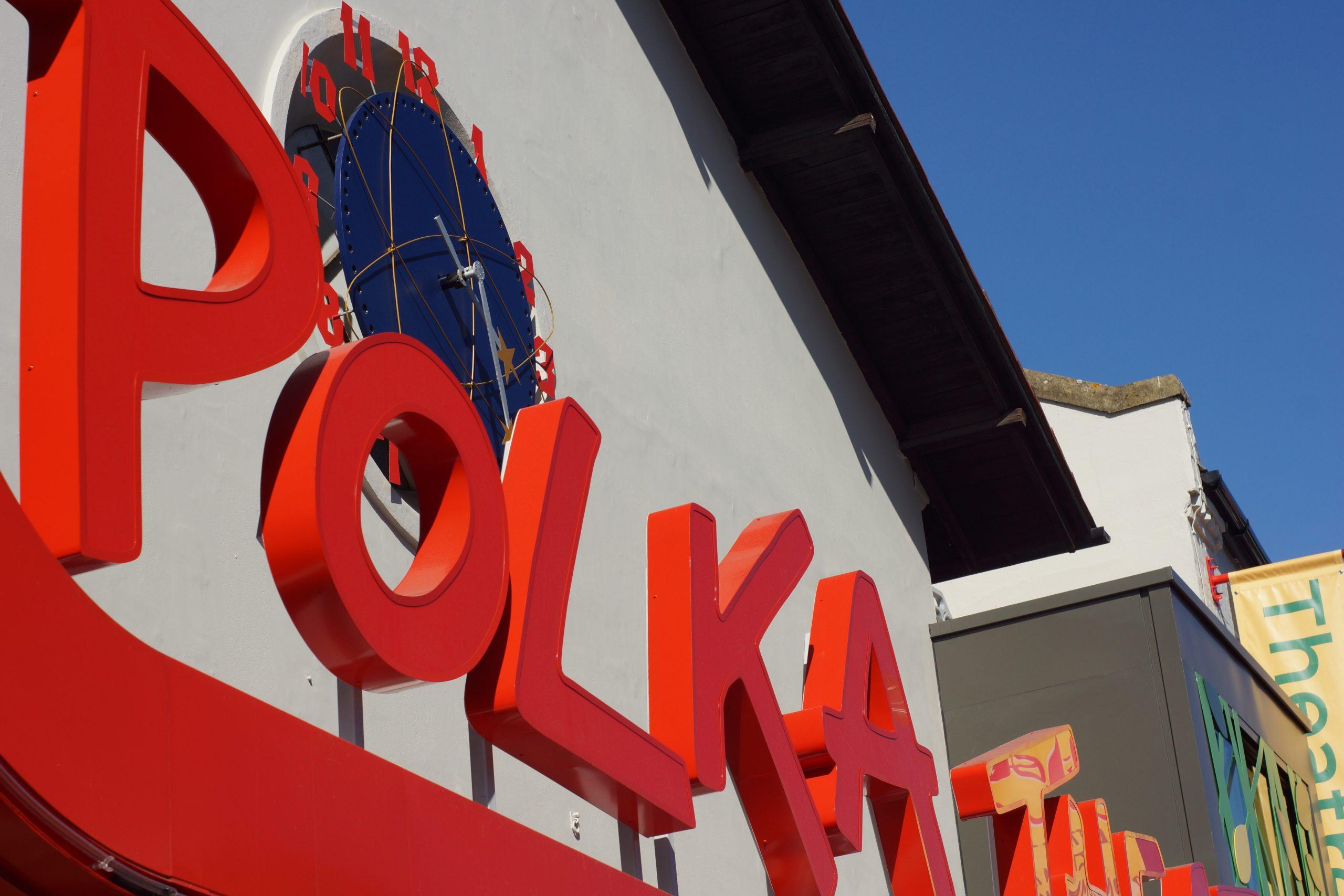 Polka outdoor signage