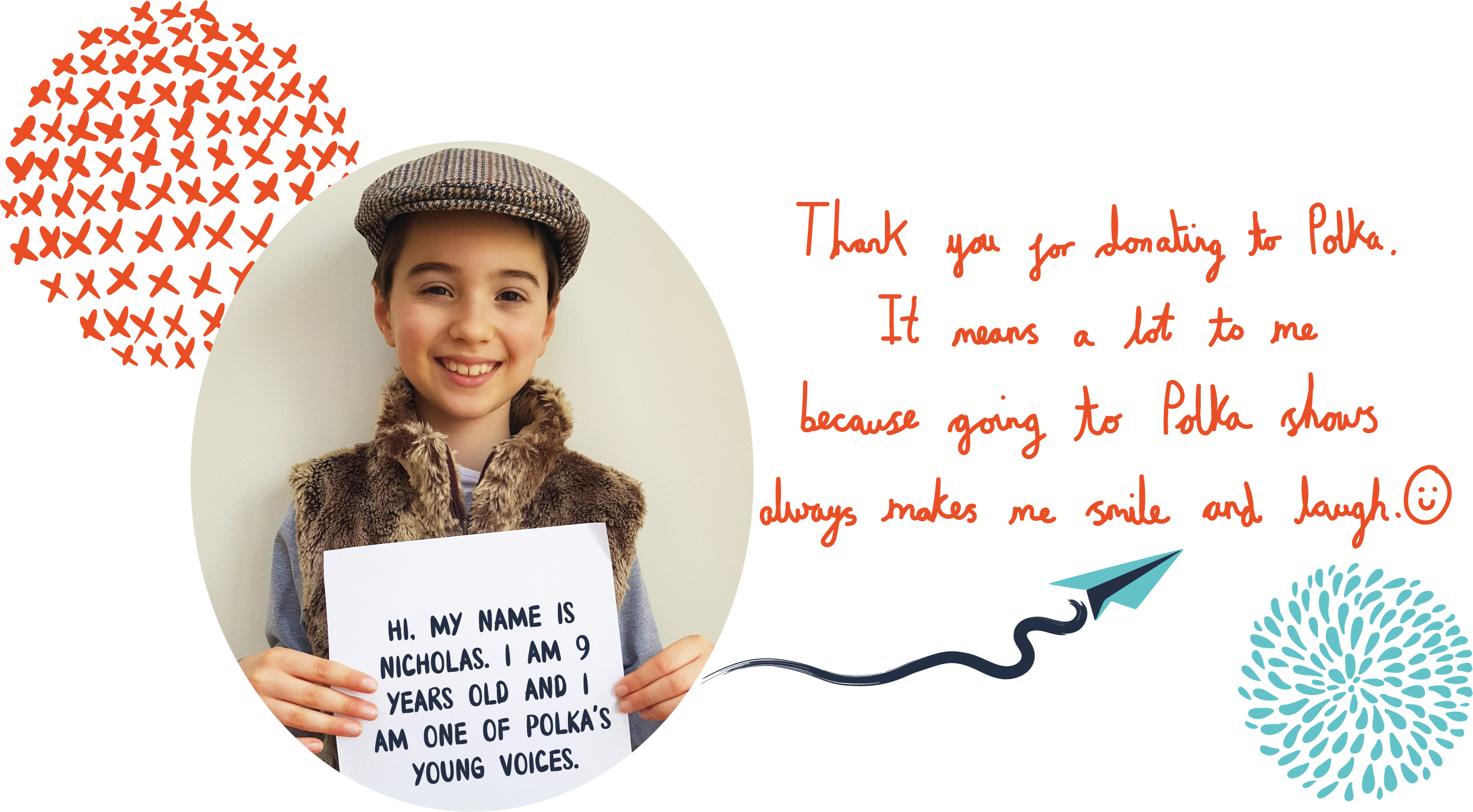 A child holding a sign with the words 'Ji. My name is Nicholas. I am 9 years old and I am one of Polka's Young Voices'